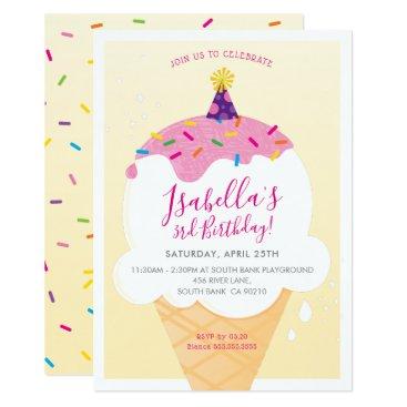 KIDS BIRTHDAY PARTY INVITE retro ice-cream cone