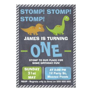 Kids Chalkboard Dinosaur Birthday Party Invitation