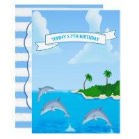 Kids Dolphin Birthday Party Invitations