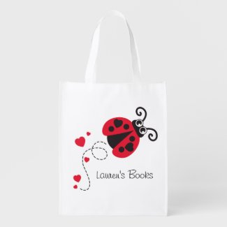 Kids named Ladybug ladybird library book bag Market Totes