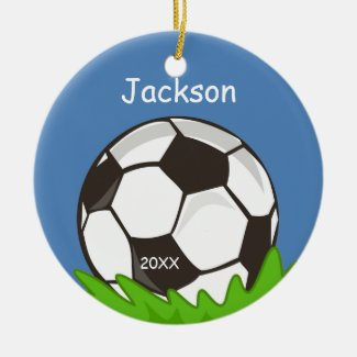 Kids Personalized Soccer Ball Keepsake Christmas Ornament