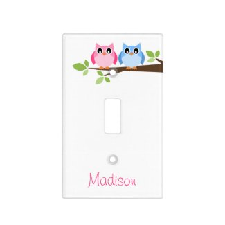 Kids Pink and Blue Owl Personalized Light Switch Plate
