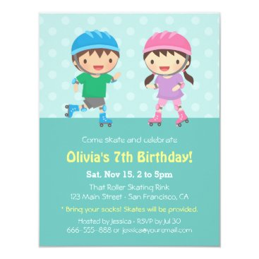 Kids Roller Skating Birthday Party Invitations