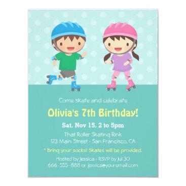 Kids Roller Skating Birthday Party Invitations