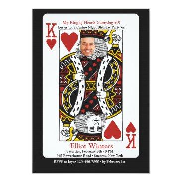 King of Hearts Casino Night Photo Invitation