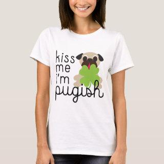 Kiss Me I'm Pugish St Patricks Day Pug Clover T-Shirt