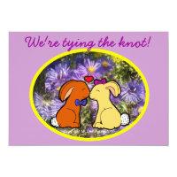 Kissing Rabbits Informal Wedding Card