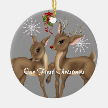 Kissing Reindeer; Married Our First Christmas Ceramic Ornament