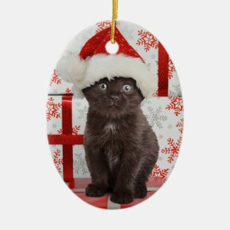 Black Kitten Christmas Ornament
