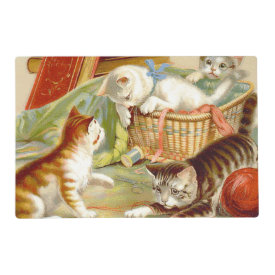 Kittens in a Basket Playing Laminated Place Mat