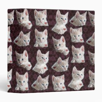 Kitty Cat Faces Pattern With Hearts Image 3 Ring Binder