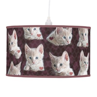 Kitty Cat Faces Pattern With Hearts Image Pendant Lamp