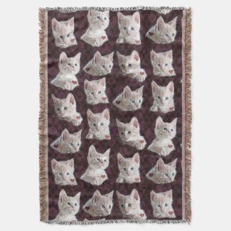 Kitty Cat Faces Pattern With Hearts Image Throw Blanket