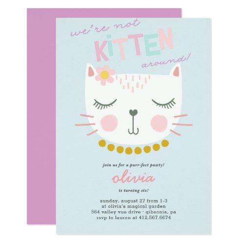 Kitty Cat Kids Birthday Invitation