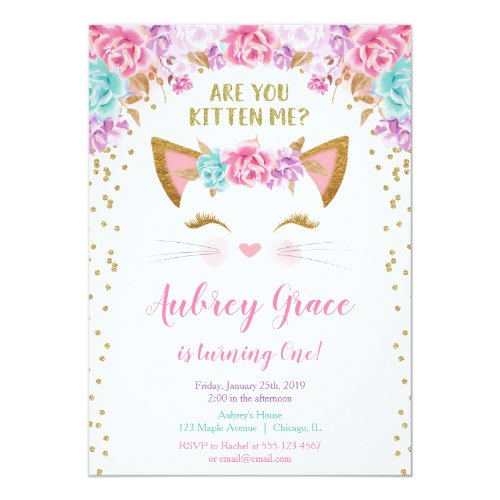 Kitty cat kitten pink gold glitter birthday party invitation