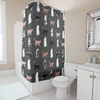 Kitty Cats in Rose Gold and Black and White Marble Shower Curtain