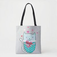 Kitty Heart Knit Tote