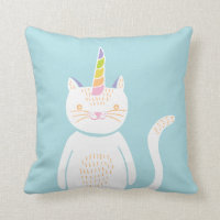 Kitty Unicorn Throw Pillow