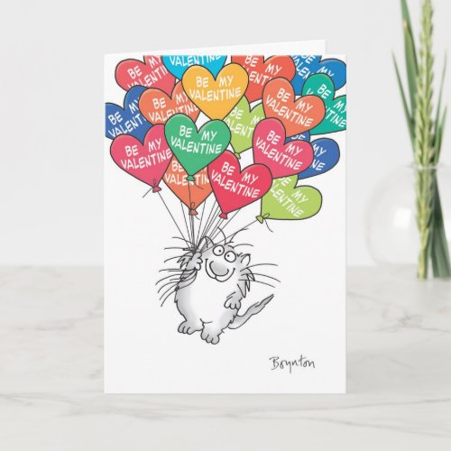 KITTY WTH HEART BALLOONS Valentines by Boynton Holiday Card