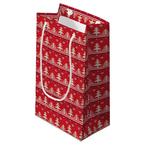 Knitted Christmas Winter Nordic Pattern Small Gift Bag