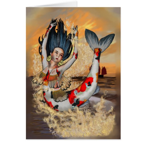 Koi Mermaid Note Card