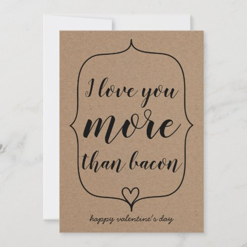 Kraft Paper Cute Heart Funny Bacon Valentines Day Holiday Card