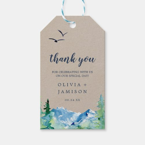 Kraft Rocky Mountain Wedding Thank You Favor Gift Tags