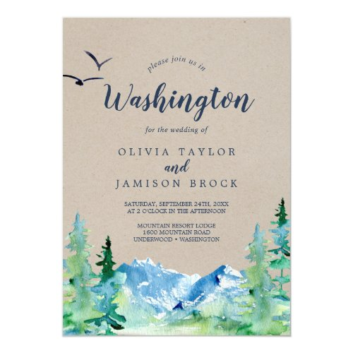 Kraft Washington Mountain Destination Wedding Invitation
