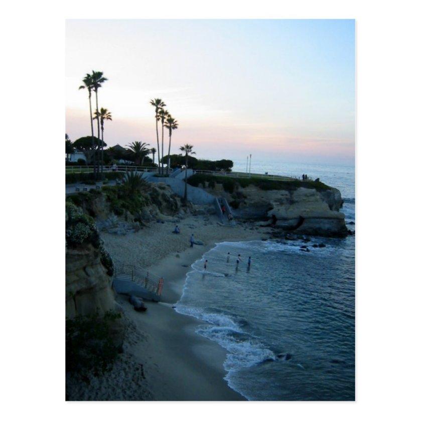 La Jolla Beach Sunset Custom California Postcards