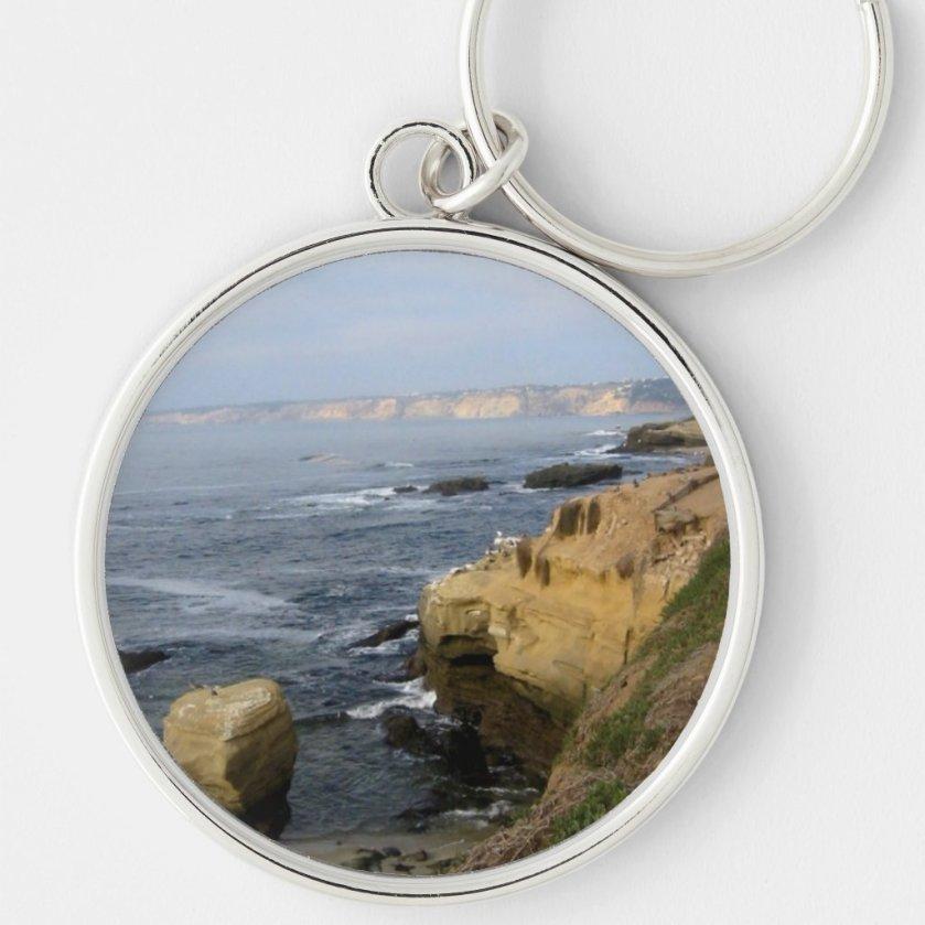La Jolla Cove Beach Seabirds Custom Keychain
