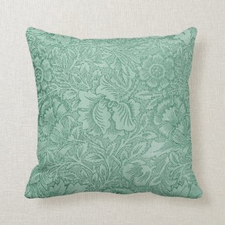 Lace Wallpaper Green Throw Pillows