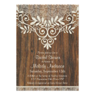 Lace Wood Rustic Vintage Ivory Bridal Shower Invites