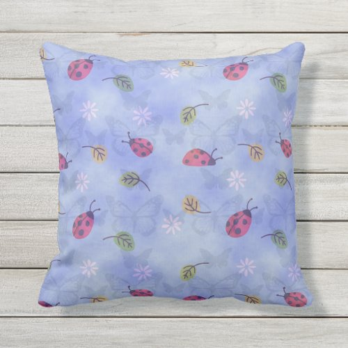 Lady Bugs Outdoor Pillow
