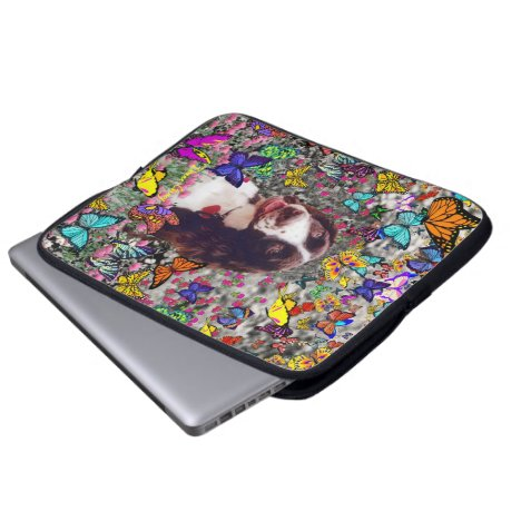 Lady in Butterflies  - Brittany Spaniel Dog Laptop Sleeve