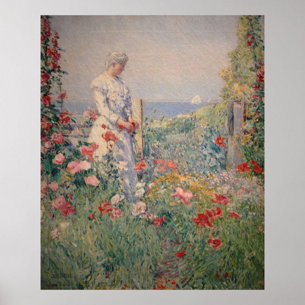 Lady in Flower Garden Poster