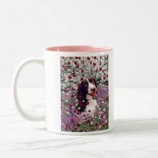 Lady in Flowers - Brittany Spaniel mug