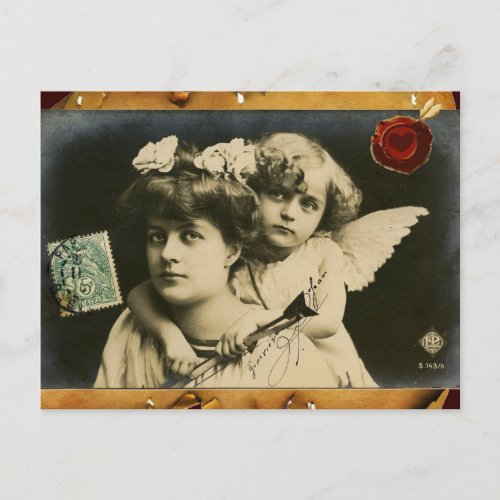 LADY WITH CUPID,RED HEART WAX SEAL Valentine's Day Holiday Postcard