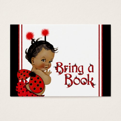 Ladybug Bring a Book Cards African American Girl