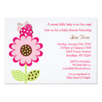 Ladybug Flower Baby Shower Invitations