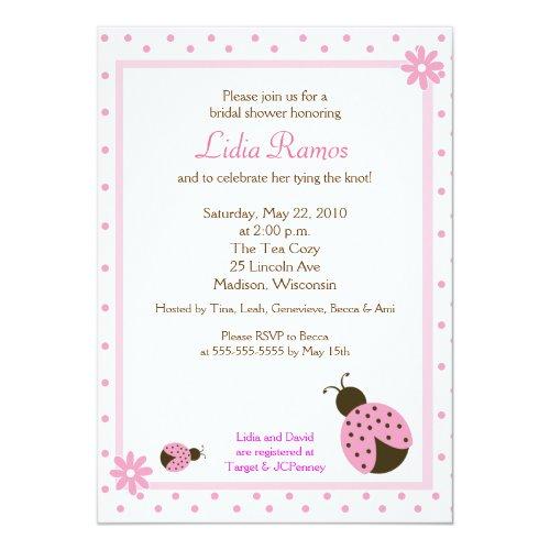Ladybug Flower Dot 5x7 Bridal Shower Invite