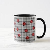 Ladybug Pattern Tartan Chic Stylish Modern Cute Mug