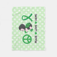 Ladybug Peace Love Hope Green Awareness Ribbon Fleece Blanket
