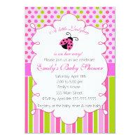 Ladybug Pink Green Girl Baby Shower Invitation