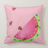 Ladybug's Watermelon (pink) pillow