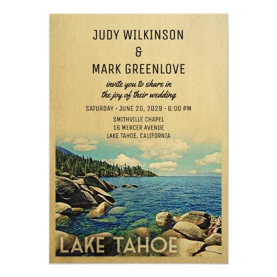 Lake Tahoe Wedding Invitation Vintage Mid Century