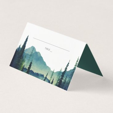 Lakeside Mountain Forest Wedding Place Business Card