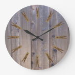 Landry room Clothespin Large Clock