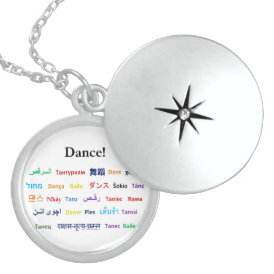 Language of Dance!  Words for Dance Worldwide Sterling Silver Necklace