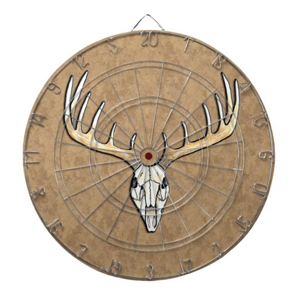 Large Antler Deer Skull Hunting Dart Board