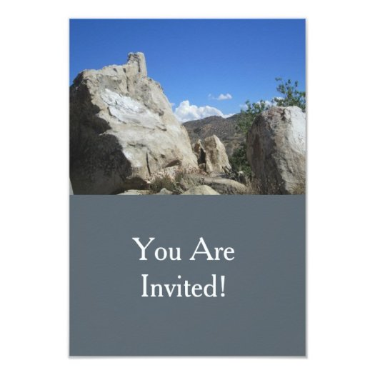 Large Boulder And Blue Sky 3.5x5 Paper Invitation Card